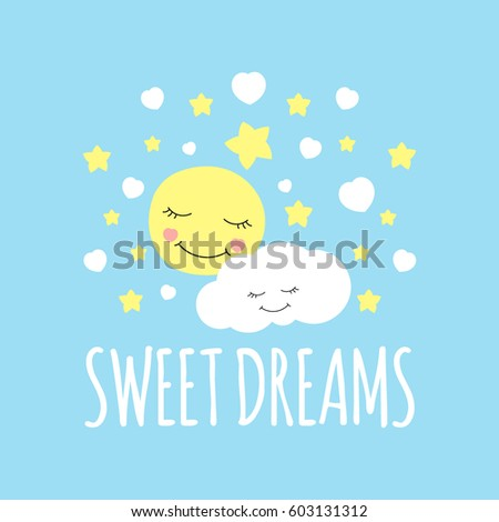 cute moon with cloud print