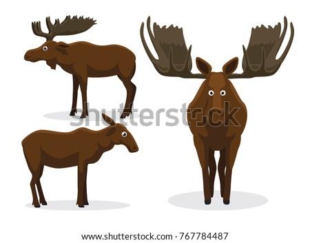 Cute Moose Cartoon Vector Illustration