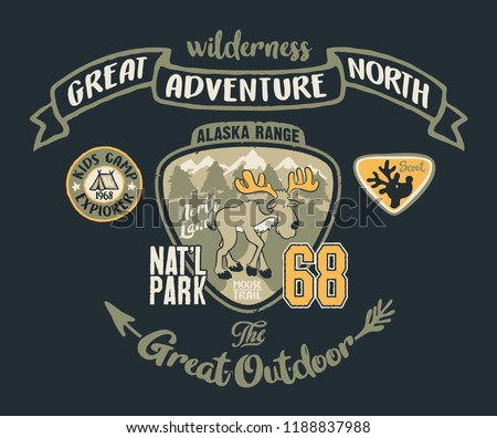 Cute moose great outdoor wilderness adventure, cartoon vector print with embroidery applique for shirt and children wear