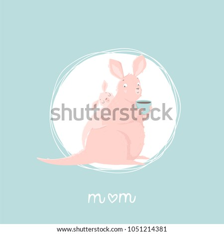 Stock Photo Cute mother kangaroo with her child. Vector illustration with cute animals and lettering. Postcard, poster, invitation design. Love. Happy Mothers' Day greeting card! Vector illustration.