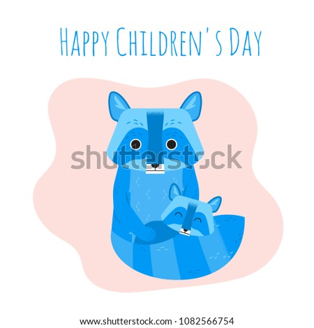 Cute mother raccoon puts her baby to sleep, covering the child with a tail on peachy background. Colored vector illustration for greeting card, banner, flyer, devoted to Children's Day (June 1st).