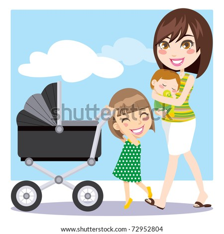 Cute mother walking with son on her arms while daughter is pushing a baby carriage
