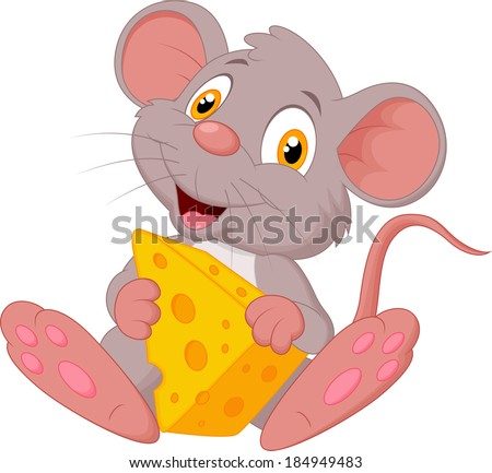 cute mouse cartoon holding