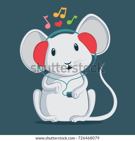 Stock Photo Cute mouse character in headphones. Music theme illustration.