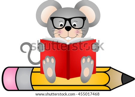 cute mouse reading book sitting