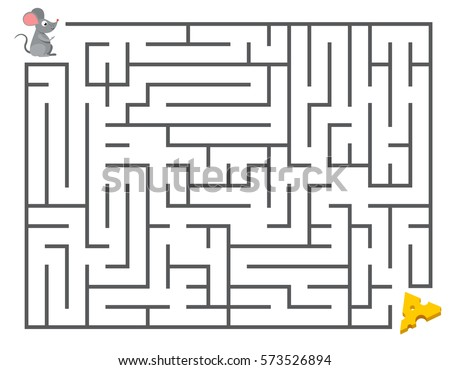 Cute mouse searching cheese. Kids maze puzzle, labyrinth vector illustration. Game labyrinth for development of thinking mental, mouse in labyrinth