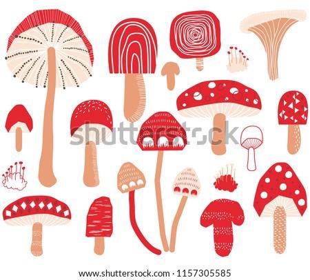 Cute Mushroom Collections Set