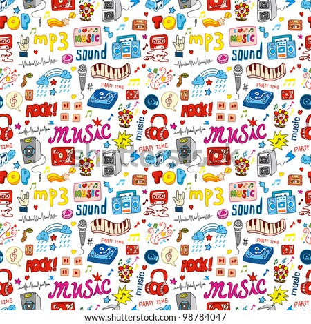 cute music icon seamless pattern