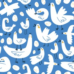Cute naive seamless pattern with stylized birds and eggs.  Kids design for fabric or wallpaper.