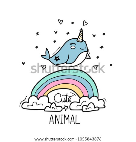 cute narwhal walks on the