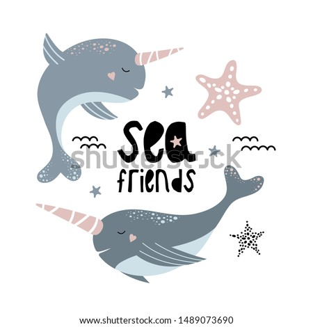 cute narwhals marine friends