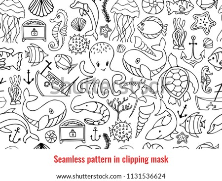 Cute Nautical Doodle Seamless Pattern Aqatic Creatures On White Background Sea Animals Such As