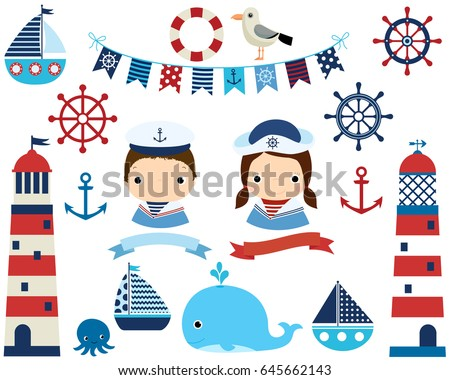 cute nautical set with girl and