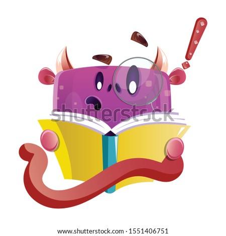 cute nerdy boxy purple monster