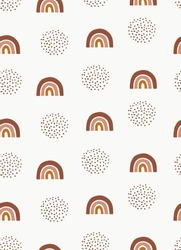 Cute Neutral Boho Rainbow Seamless Vector Pattern Simple Hand Drawn Rainbow Sky Print. Funny Scandinavian Style Repeatable Design ideal for Fabric, Textile, Wrapping Paper.
