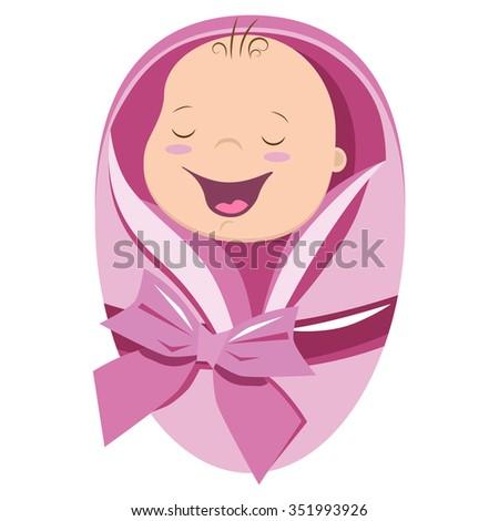 Cute new born baby girl vector illustration