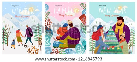 cute new year and christmas vector illustrations of a loving happy family on a winter vacation, mom, dad and baby are walking in nature, hugging and decorating a Christmas tree