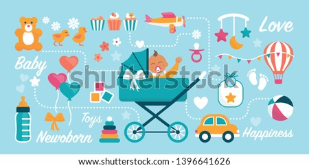 Cute newborn baby waving in a pram and childhood items: baby shower and birthday greeting card Сток-фото ©