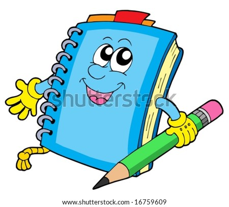 stock vector : Cute notepad on white background - vector illustration.