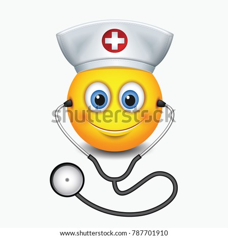 Cute nurse emoticon wearing hat and stethoscope - emoji, smiley - isolated vector illustration
