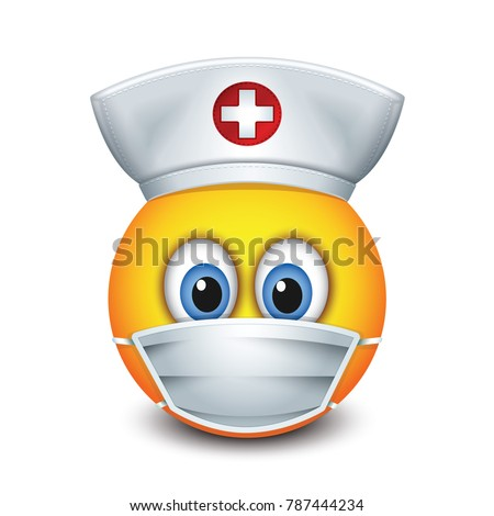 Cute nurse emoticon wearing hat and surgical mask - emoji, smiley - isolated vector illustration
