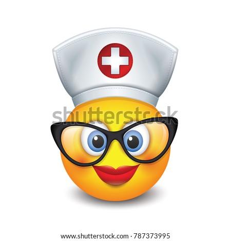 Cute nurse emoticon wearing hat, lipstick and eyeglasses - emoji, smiley - isolated vector illustration