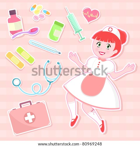 cute nurse with collection of first aid items
