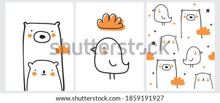 Cute Nursery Vector Art and Seamless Pattern with Little Bird and Lovely Bears. Big Bear and Baby Bear Print. Lovely Chicken and Fluffy Cloud. Repeatable Desiegn with White Bears, Orange Clouds.