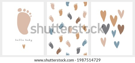 Cute Nursery Vector Art. Light Brown Little Baby Foot Isolated on a White Background. Hello Baby. Baby Shower Vector Illustration and Lovely Seamless Pattern with Little Baby Feet. Print with Hearts.