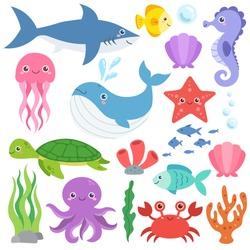 Cute ocean animals vector set. Sea creatures cartoon characters, marine life clip art collection. Whale, shark, jellyfish, crab, octopus, seahorse, seashells, coral reef, sea turtle, starfish.