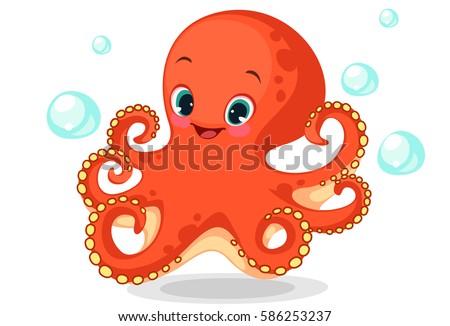 Cute octopus cartoon vector illustration