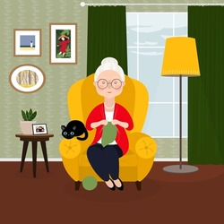 Cute old lady with a wrinkled face and gray hair is sitting in a chair in a cozy room and knitting. A woman with a black cat. Vector stock hand-drawn illustration.