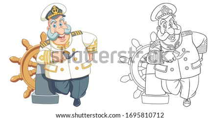 Cute old sailor, ship captain. Coloring page and colorful clipart character. Cartoon design for t shirt print, icon, logo, label, patch or sticker. Vector illustration.