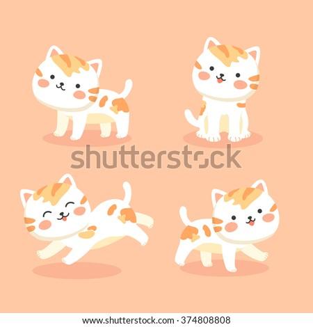 cute orange cats vector