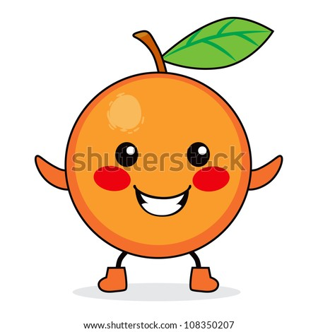 cute orange fruit cartoon