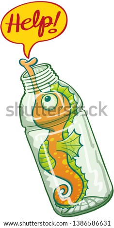 """Cute orange seahorse asking for help while keeping trapped in a plastic bottle. It's stretching its long snout through the mouth of the bottle to show a speech bubble with the word """"help"""""""