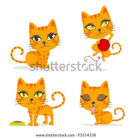 cute orange tabby cat playing
