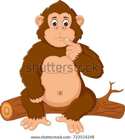 cute orangutan cartoon sitting