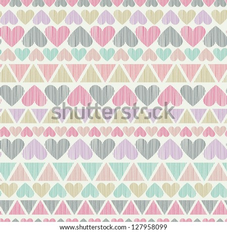 Cute ornamental seamless pattern with hearts and rectangles. Decorative endless texture, template for design wrapping paper, packages, textile - stock vector