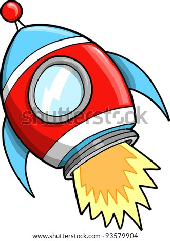 Cute Outer Space Rocket Vector Illustration art