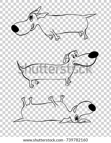 Cute outlined black dachshund dogs in cartoon style isolated on a transparent background. Unique vector illustration. Funny characters.