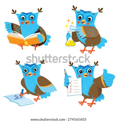 cute owl and learning set on a