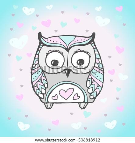 cute owl bird  heart pattern