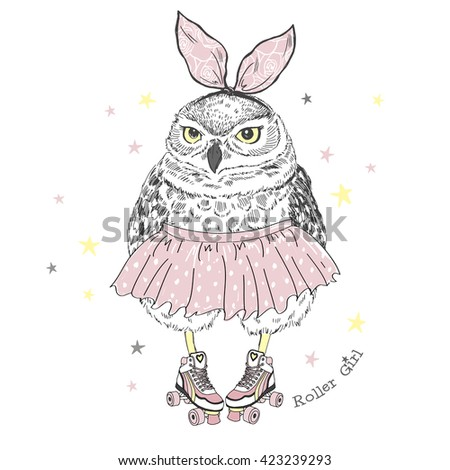 cute owl girl on roller skates