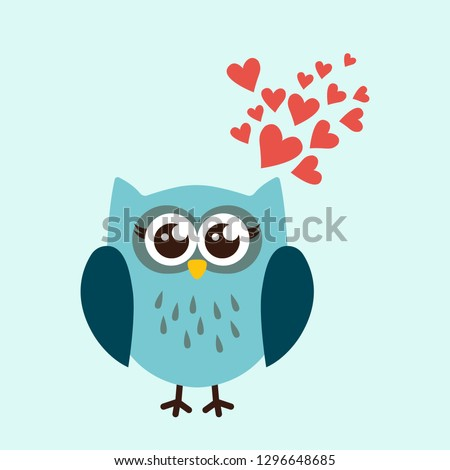Cute owl in love with hearts. Cartoon hand drawn vector illustration. Can be used for t-shirt print, kids wear fashion design, baby shower invitation card.