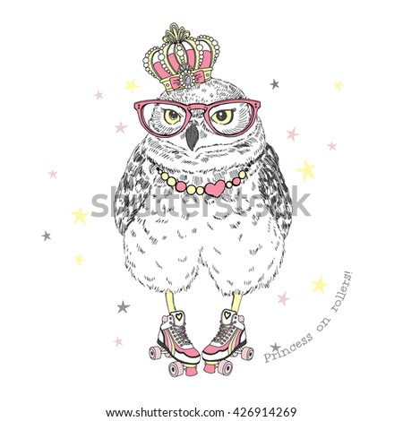 cute owl princess on roller