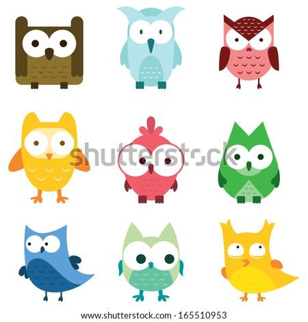 cute owl set bird wildlife
