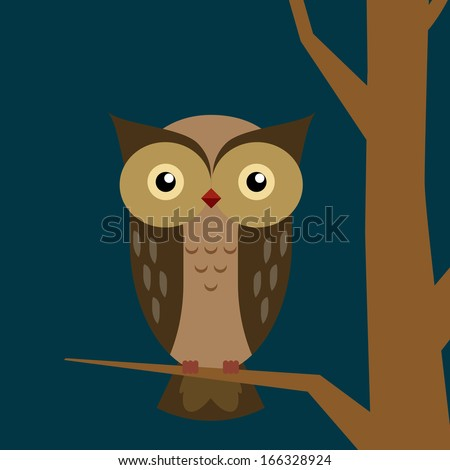 Cute owl vector illustration. Owl at night.