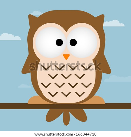 Cute owl vector illustration. Owl On tree branch.