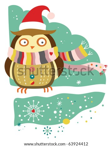 Cute owl wearing winter accessories in a snow covered landscape.